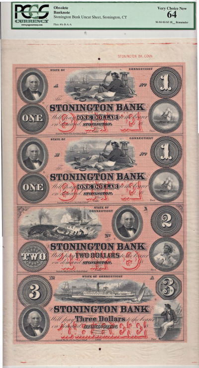 1860's. $1,$1,$2,$3. PCGS. Very Ch-64. CT.