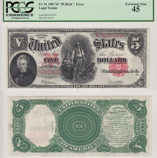 140762- 1907. $5. PCGS. XF-45. Legal Tender Note.