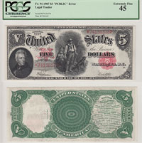 1907. $5. PCGS. XF-45. Legal Tender Note.