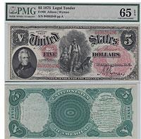 1875. $5. F-68. PMG. Gem-65. EPQ. LTN.
