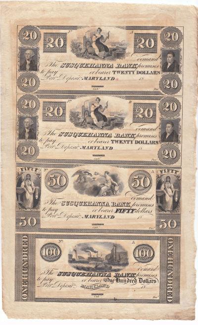 1830's. $20,$20,$50,$100. CU. MD.