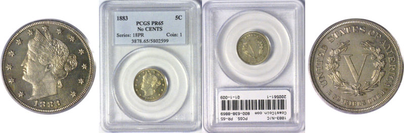 200561- 1883-N/C. PCGS. PR-65.