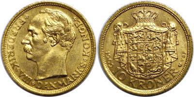 1909. Denmark. 10 Kroner. CBU.