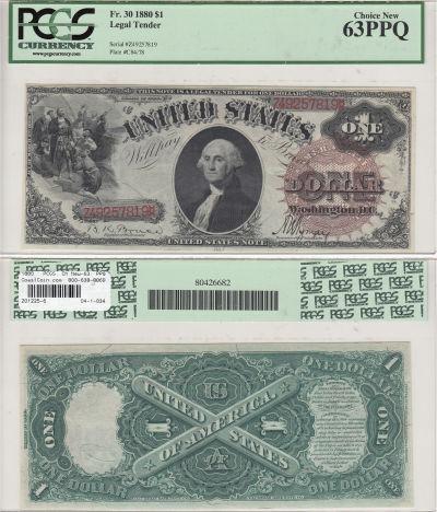 1880. $1. F-30. PCGS. Ch New-63. PPQ. LTN.