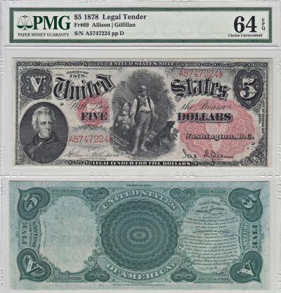 1878. $5. F-69. PMG. Ch Unc-64. EPQ. LTN.
