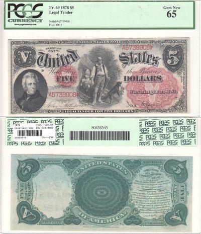1878. $5. F-69. PCGS. Gem-65. LTN.