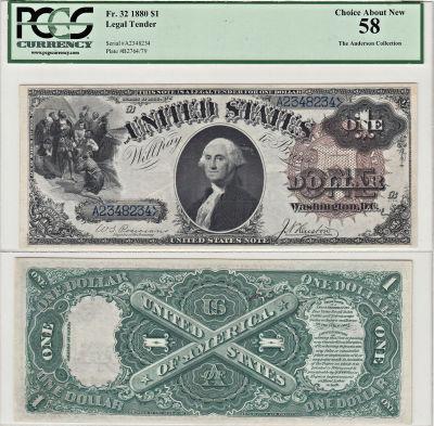 1880. $1. F-32. PCGS. Ch AU-58. LTN.