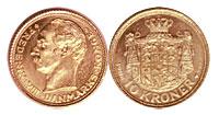 1908-1909. Denmark. 10 Kroner. Select BU.