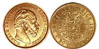 1874-1888. Germany. 20 Mark. XF.