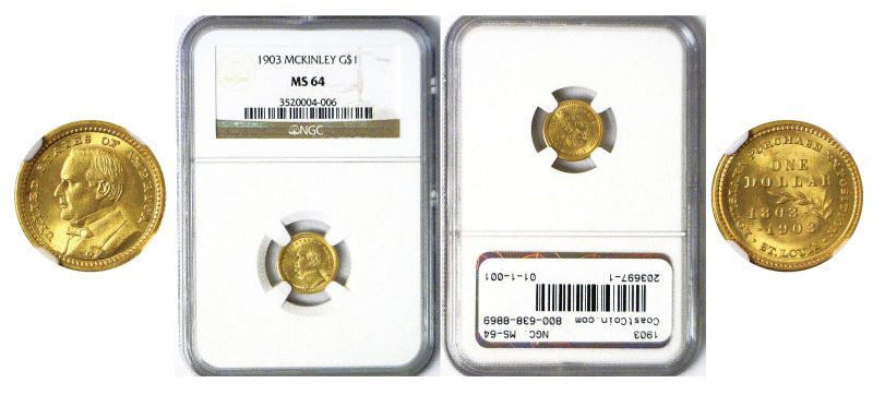 203697- 1903. NGC. MS-64. La. Purchase - McKinley $1.