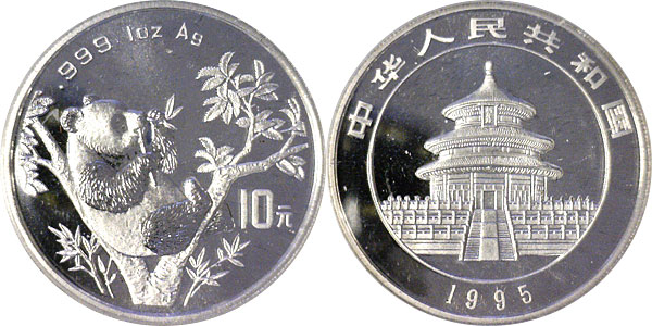 203751- 1995. GEM. Panda Small Twig Small Date. One Ounce.