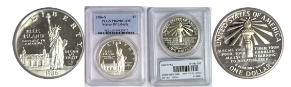 203784- 1986-S. PCGS. PR-69. DCAM. Statue of Liberty.
