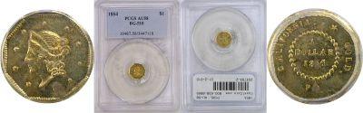1854. PCGS. AU-58. California Fractional Gold.