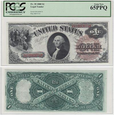 1880. $1. F-30. PCGS. Gem-65. PPQ. LTN.