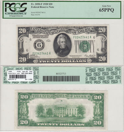 1928. $20. F-2050-F. PCGS. Gem-65. PPQ. Federal Re