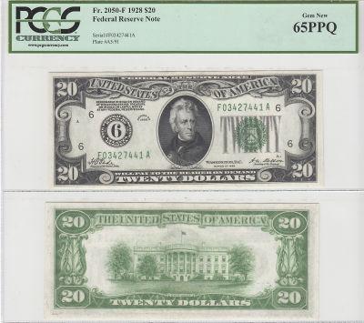 1928. $20. F-2050-F. PCGS. Gem-65. PPQ. Federal Re