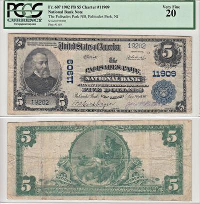 1902. $5. PCGS. VF-20. NJ. Palisades Park. Charter