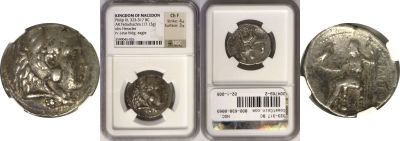 323-317 BC. Macedon. Silver Tetradrachm. NGC. Phil