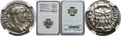305-306 AD. Silver Argenteus. NGC. Constantius I.