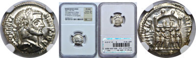 After c. 294 AD. Silver Argenteus. NGC. Diocletian