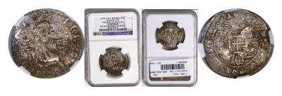 (1396-1421). Rhodes. NGC. Silver Gigliato.