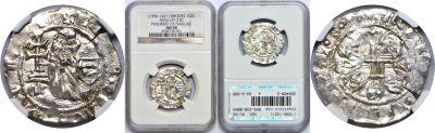 (1396-1421). Rhodes (Crusaders). NGC. AU-50. Gigli