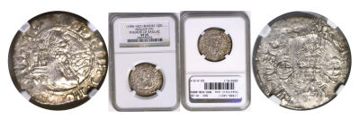 (1396-1421). Rhodes (Crusaders). NGC. VF-35. Gigli