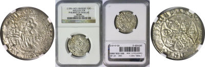 (1396-1421). Rhodes (Crusaders). NGC. VF-30. Gigli
