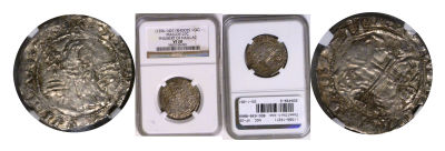 (1396-1421). Rhodes (Crusaders). NGC. VF-20. Gigli