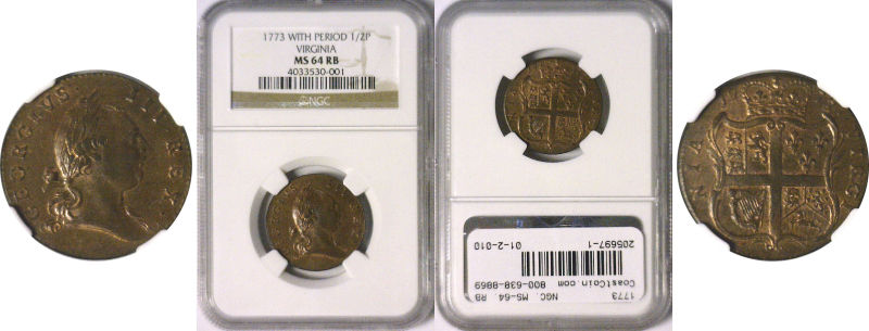 205697- 1773. Virginia. NGC. MS-64. RB.