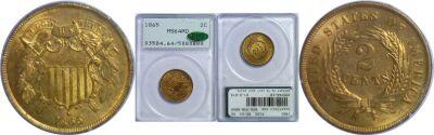 1865. PCGS. MS-64. RD.