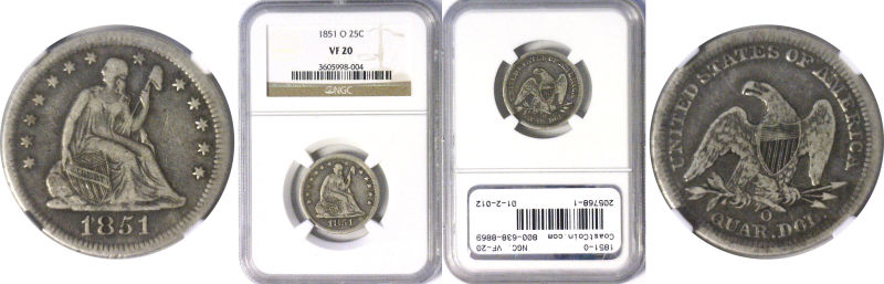 205768- 1851-O. NGC. VF-20.