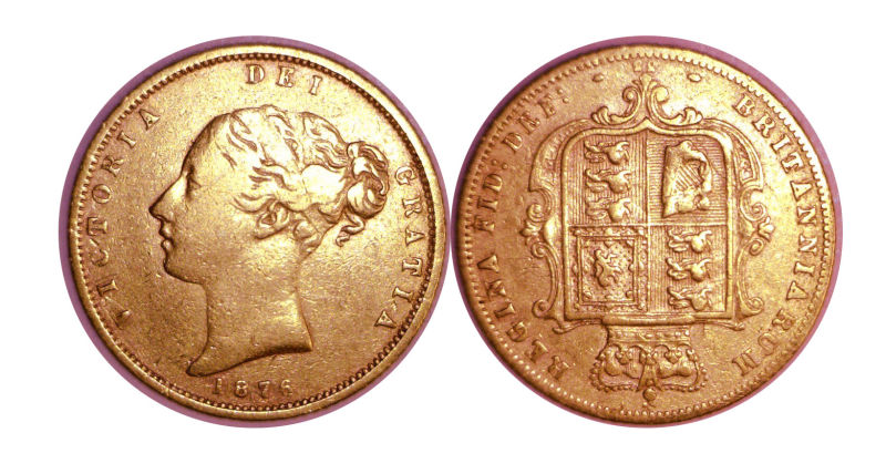205955- 1863-1880. England. 1/2 Sovereign. FINE.