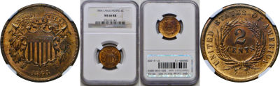 1864 Large Motto. NGC. MS-66. RB.