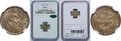 1858-O. NGC. MS-65.