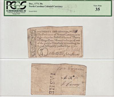 December 1771. NC. Thirty Shillings. PCGS. VF-35.