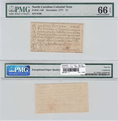December 1771. NC. One Pound. PMG. Gem-66. EPQ.