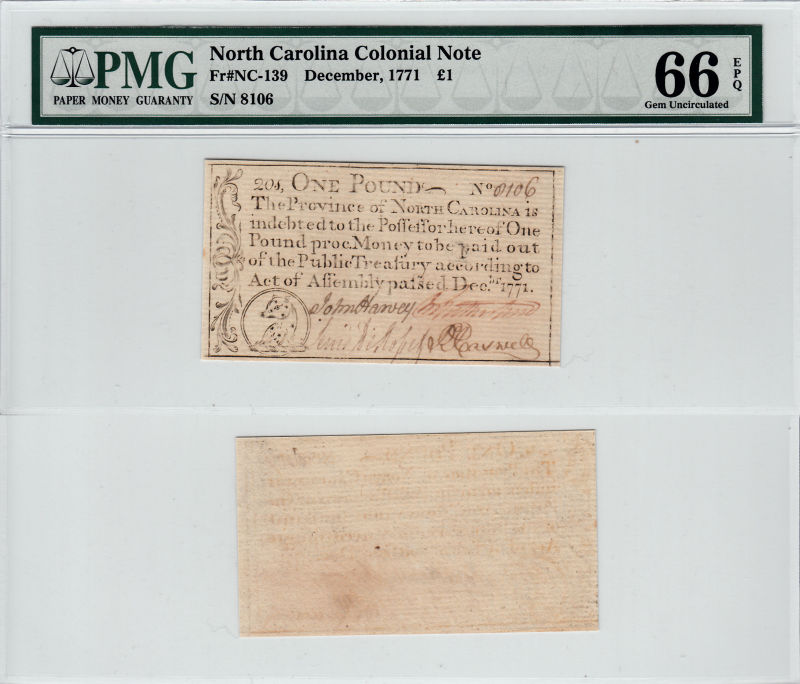 206187- December 1771. NC. One Pound. PMG. Gem-66. EPQ.