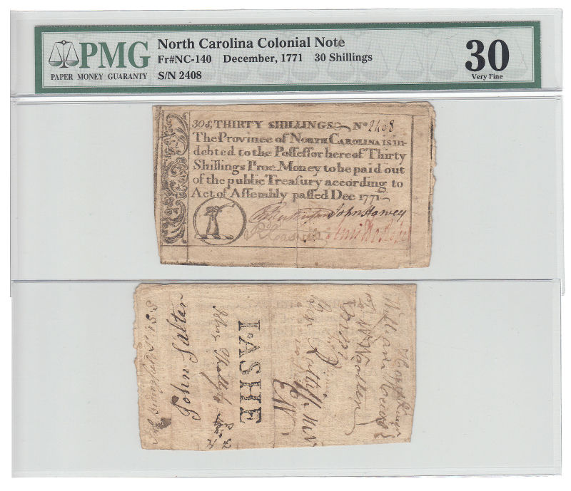 206189- December 1771. NC. Thirty Shillings. PMG. VF-30.