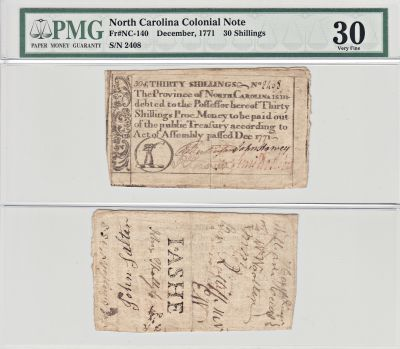 December 1771. NC. Thirty Shillings. PMG. VF-30.