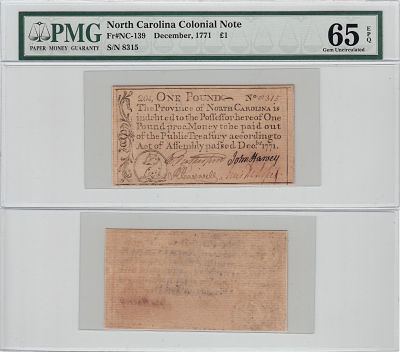 December 1771. NC. One Pound. PMG. Gem-65. EPQ.