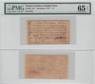 December 1771. NC. One Pound. PMG. Gem-65. EPQ.