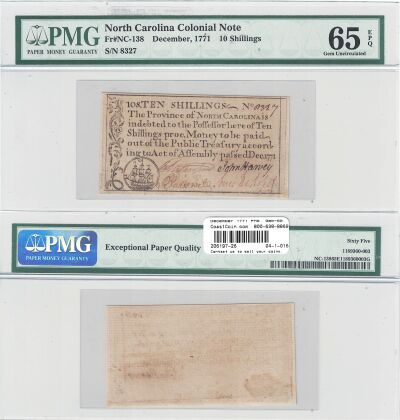 December 1771. NC. Ten Shillings. PMG. Gem-65. EPQ