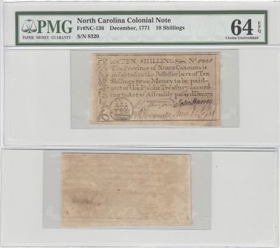 December 1771. NC. Ten Shillings. PMG. Ch Unc-64.