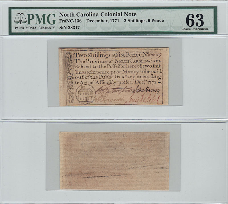 206200- December 1771. NC. Two Shillings & Six Pence. PMG. Ch Unc-63.