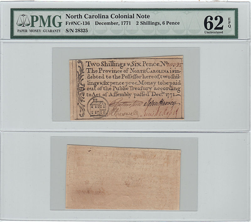 206201- December 1771. NC. Two Shillings & Six Pence. PMG. Unc-62. EPQ.