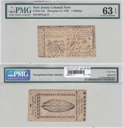 12/31/1763. NJ. One Shilling. PMG. Ch Unc-63. EPQ.