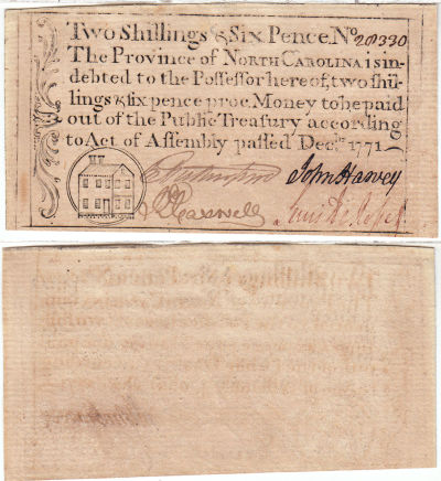 December 1771. NC. Two Shillings & Six Pence. CU.