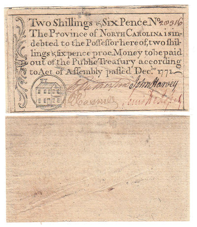 December 1771. NJ. Two Shillings & Six Pence. AU.