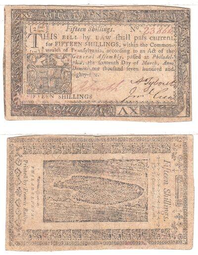 3/16/1785. PA. Fifteen Shillings. VF.